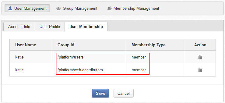 7 2 4  Setting auto-membership for users